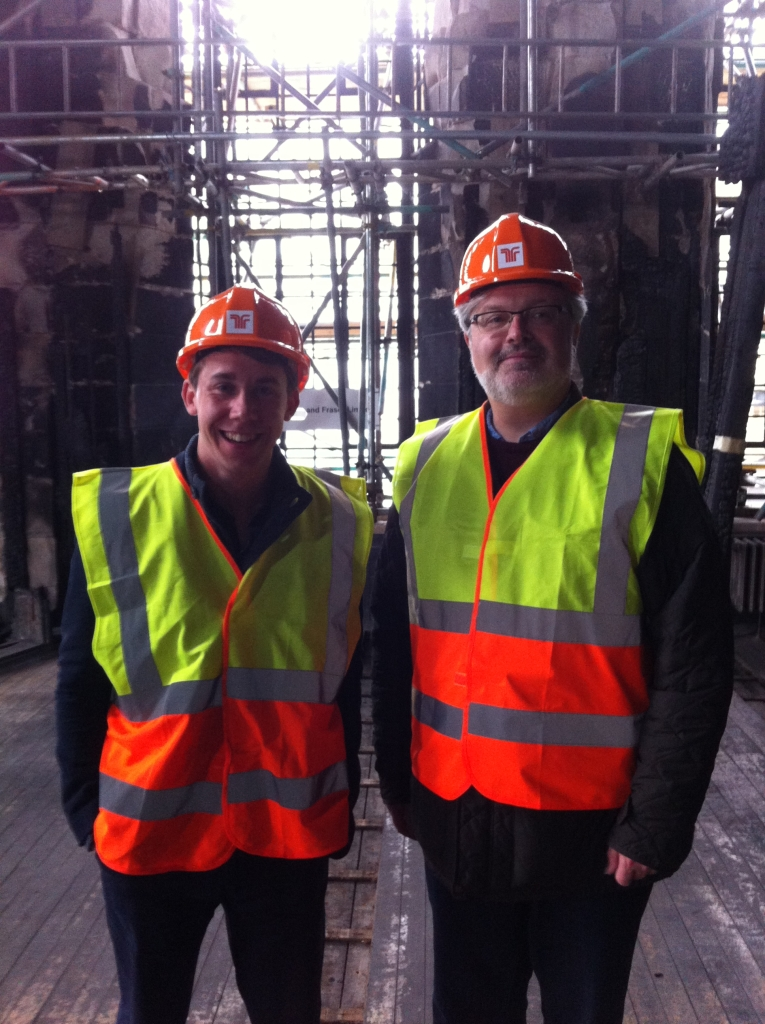 Sir James MacMillan, CBE and Musical Director, Jamie Sansbury on a recent tour around the Mackintosh Building.